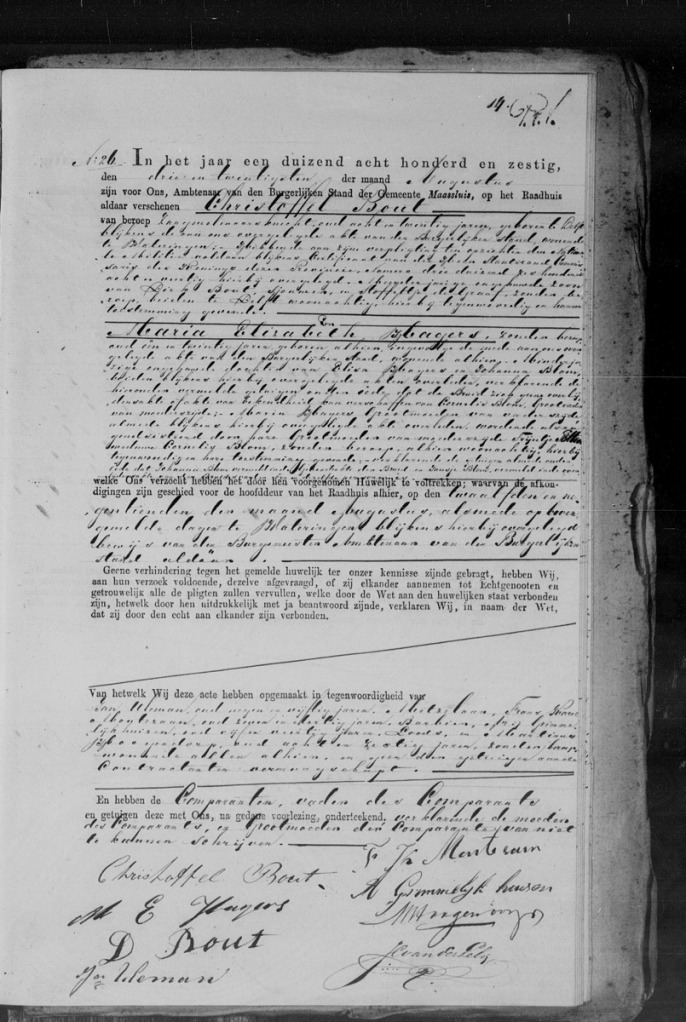 Huwelijksakte 1860