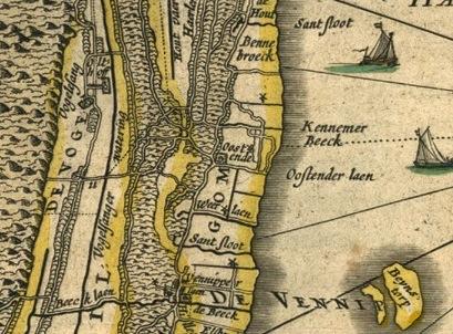 Detail van de kaart hierboven. De Kennemerbeek wordt met een streepjeslijn voortgezet in het Haarlemmermeer.