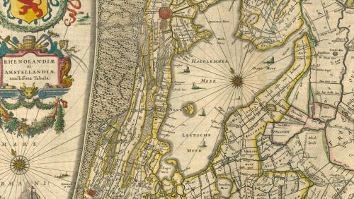 Detail van de 17de-eeuwse kaart van Rijnland. Het Haarlemmermeer rechts, links de duinen. Daartussen de oude strandwallen en strandvlaktes.