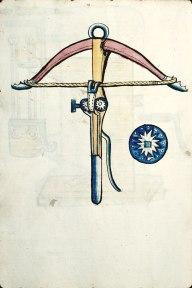 Kruisboog, in Nederlandse bronnen armborst genoemd.