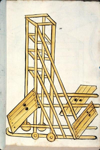 Een evenhoghe, middeleeuws belegeringswerktuig. Bron: Besançon, BM ms 1360.