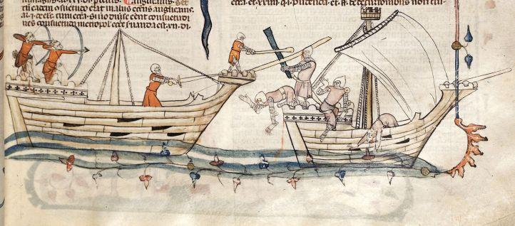 Twee schepen waarop slag wordt geleverd. BL Royal 10 E IV, f° 19.