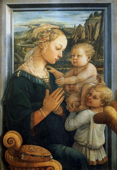 Filippo Lippi, Madonna met kind en drie engelen. Firenze, Uffizi.