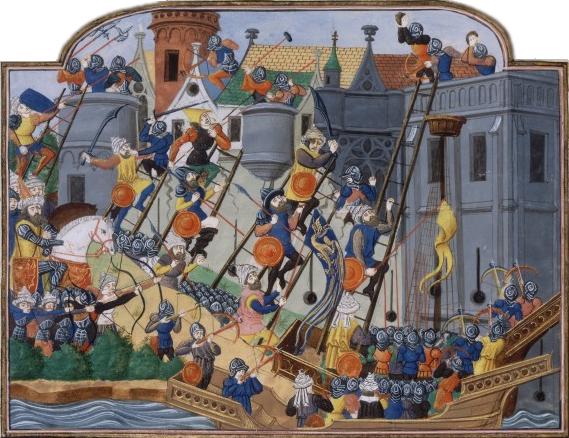 De Val van Constantinopel, 1453. Toegeschreven aan Philippe de Mazerolles, 3e kwart 15de eeuw. Bibl. Nat. de France.