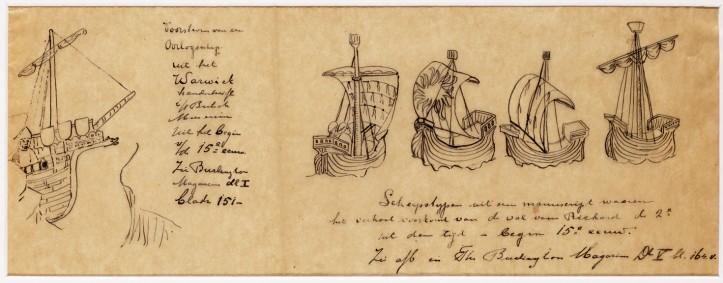 Nanne Ottema maakte kopieën van 15de-eeuwse scheepsafeeldingen uit een Engels manuscript. (Fries Scheepvaartmuseum Sneek)
